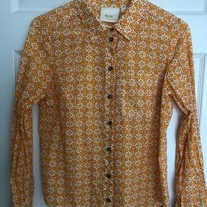 Anthropologie Maeve yellow shirt, size 6